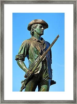 Minuteman Statue At Old North Bridge Framed Print by Brian Jannsen