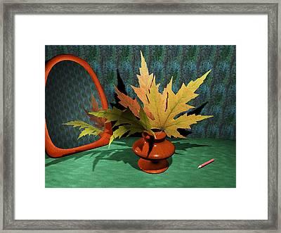 Mirror And Leaves Framed Print by Anastasiya Malakhova