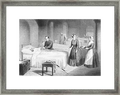 Miss Nightingale In The Hospital Framed Print by Robert Neal Hind