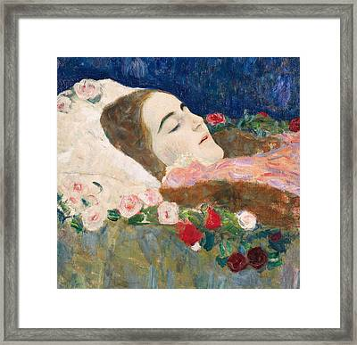 Miss Ria Munk On Her Deathbed Framed Print by Gustav Klimt