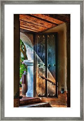 Mission Door Framed Print by Joan Carroll