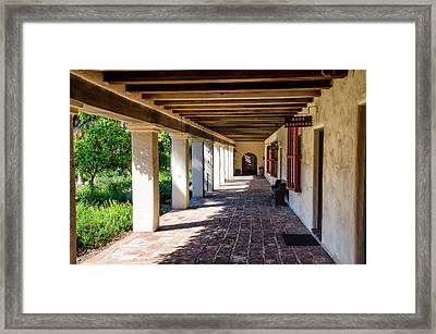 Mission Santa Barbara - Office Of The Good Sheperd Framed Print by Jon Berghoff