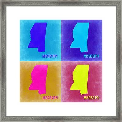 Mississippi Pop Art Map 2 Framed Print by Naxart Studio