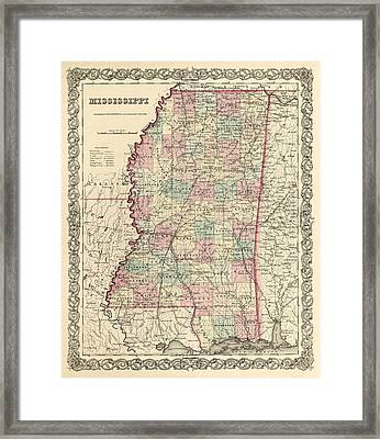 Mississippi Vintage Antique Map Framed Print by World Art Prints And Designs