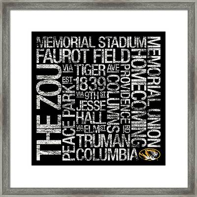 Missouri College Colors Subway Art Framed Print by Replay Photos