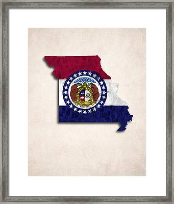 Missouri Map Art With Flag Design Framed Print by World Art Prints And Designs