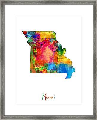 Missouri Map Framed Print by Michael Tompsett