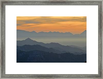 Mists In The Mountains At Sunset Framed Print by Guido Montanes Castillo