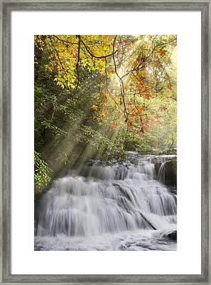 Misty Falls At Coker Creek Framed Print by Debra and Dave Vanderlaan