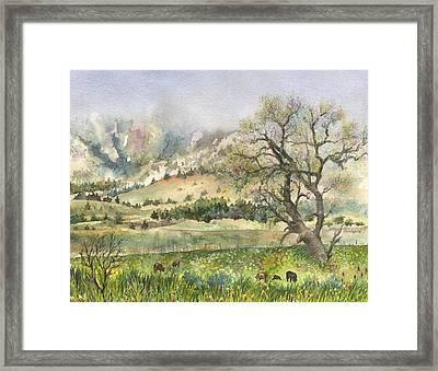 Misty Flatirons Framed Print by Anne Gifford