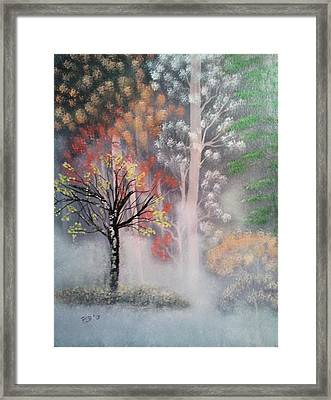 Misty Magic Forest Framed Print by Lee Bowman