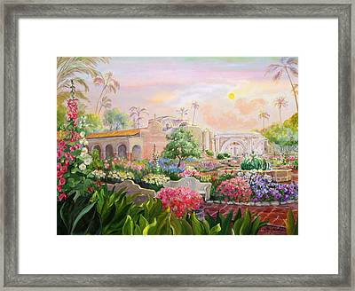 Misty Morning At Mission San Juan Capistrano  Framed Print by Jan Mecklenburg