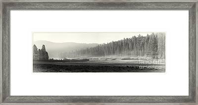 Misty Morning In Yosemite Sepia Framed Print by Jane Rix