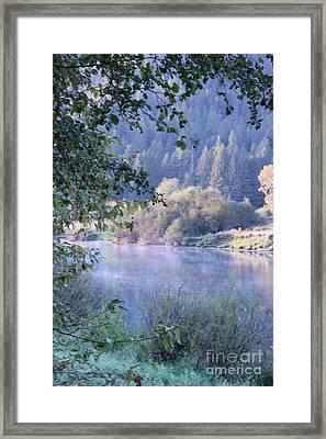 Misty Morning On The St Joe 5 Framed Print by Linda Meyer