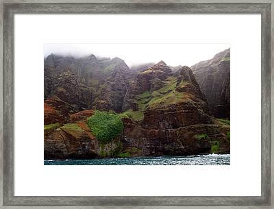 Misty Na Pali Coastline Framed Print by Amy McDaniel