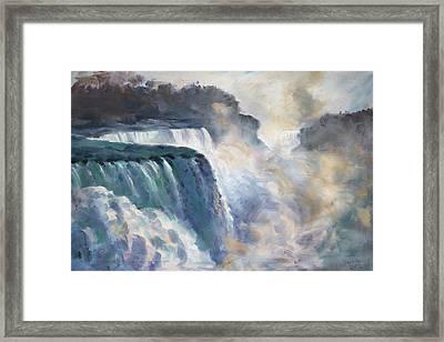 Misty Niagara Falls Framed Print by Ylli Haruni