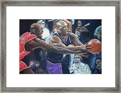 Mitch Richmond And Michael Jordan Framed Print by Paul Guyer