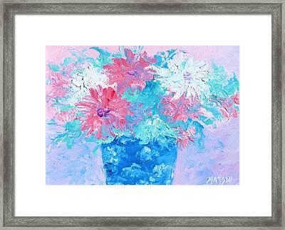 Mixed Chrysanthemums In Blue Vase Framed Print by Jan Matson