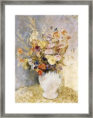 Mixed Flowers Framed Print by Glyn Warren Philpot