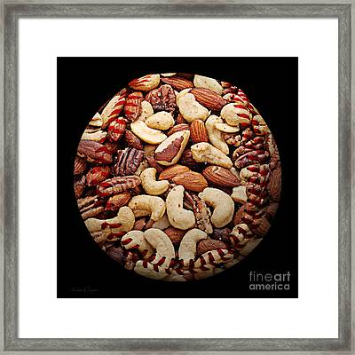 Mixed Nuts Baseball Square Framed Print by Andee Design