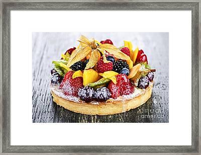 Mixed Tropical Fruit Tart Framed Print by Elena Elisseeva