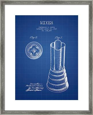 Mixer Patent From 1937 - Blueprint Framed Print by Aged Pixel
