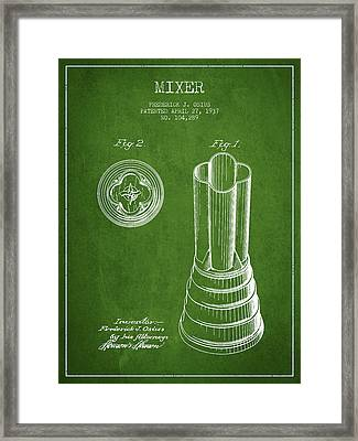Mixer Patent From 1937 - Green Framed Print by Aged Pixel