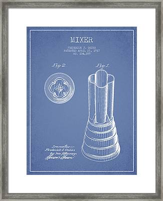 Mixer Patent From 1937 - Light Blue Framed Print by Aged Pixel