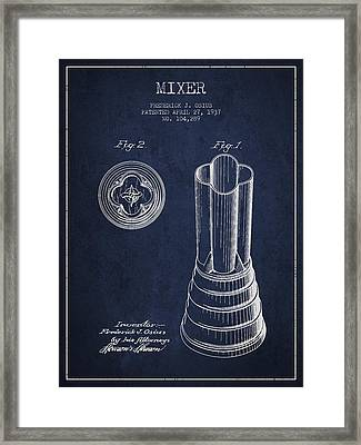 Mixer Patent From 1937 - Navy Blue Framed Print by Aged Pixel