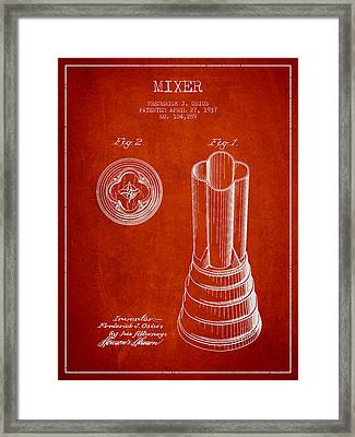 Mixer Patent From 1937 - Red Framed Print by Aged Pixel