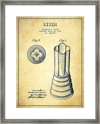 Mixer Patent From 1937 - Vintage Framed Print by Aged Pixel