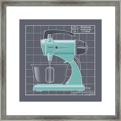 Mixmaster - Aqua Framed Print by Larry Hunter