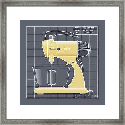 Mixmaster - Yellow Framed Print by Larry Hunter