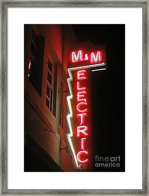 Mm Electric Sign At Night Framed Print by Gregory Dyer
