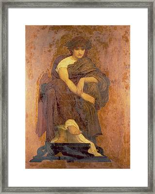 Mnemosyne, The Mother Of The Muses Oil On Canvas Framed Print by Frederic Leighton