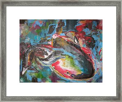 Mobie Joe The Whale-original Abstract Whale Painting Acrylic Blue Red Green Framed Print by Seon-Jeong Kim