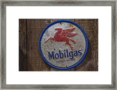 Mobil Gas Sign Framed Print by Garry Gay