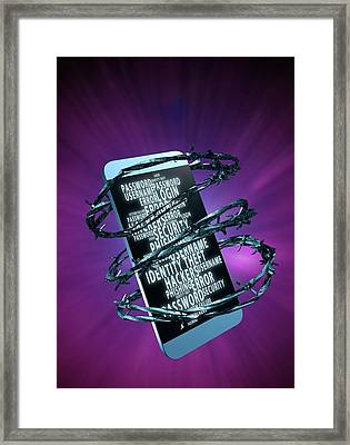 Mobile Data Security Framed Print by Victor Habbick Visions
