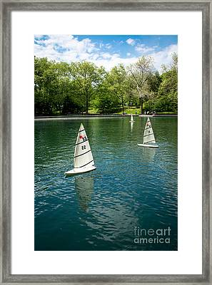 Model Boats On Conservatory Water Central Park Framed Print by Amy Cicconi
