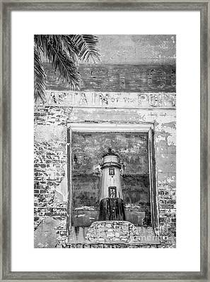 Model Key West Lighthouse In Old Brickwork - Black And White Framed Print by Ian Monk