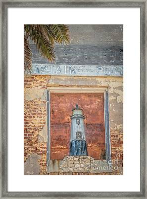 Model Key West Lighthouse In Old Brickwork - Hdr Style Framed Print by Ian Monk