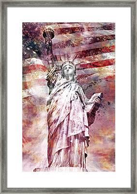 Modern Art Statue Of Liberty Red Framed Print by Melanie Viola
