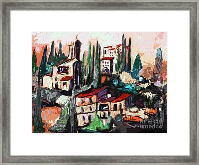 Modern Expressive Tuscan Village Art Framed Print by Ginette Callaway