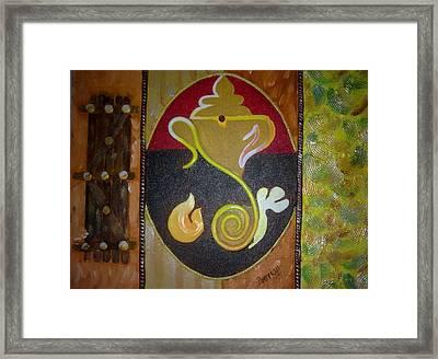 Mixed Media Ganesha Framed Print by Poornima Ravi