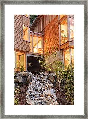Modern House And Rocky Creek Framed Print by Will Austin