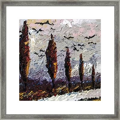 Modern Italian Landscape Trees Paintings Triptych Abstract Mixed Media Art Framed Print by Ginette Callaway