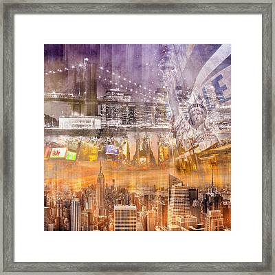 Modern Nyc Composing Purple/orange Framed Print by Melanie Viola