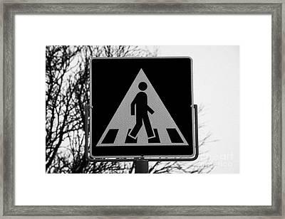Modern Pedestrian Crossing Sign Snowing In Hammerfest Finnmark Norway Europe Framed Print by Joe Fox