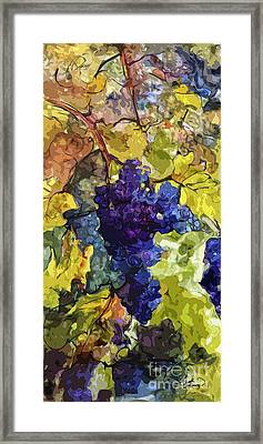 Blue Grapes Framed Print featuring the mixed media Modern Wine Grapes Art  by Ginette Callaway
