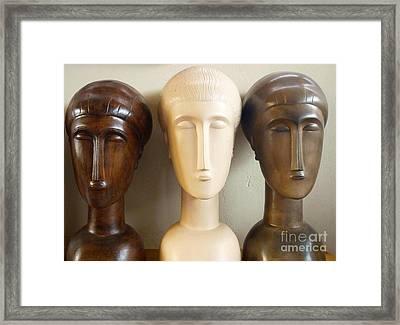 Modigliani Style Ceramic Heads Framed Print by Susanna Baez